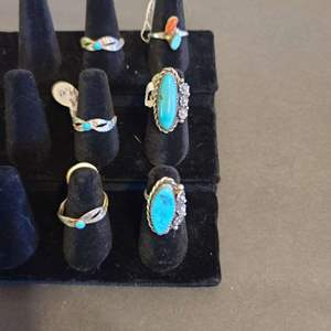 Lot # 132 Women's Sterling & Turquoise Navajo Rings