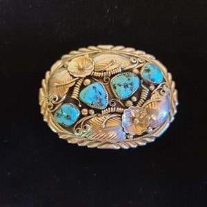 Lot # 142 Navajo Sterling & Turquoise Belt Buckle