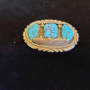 Lot # 144 Navajo Sterling & Turquoise Belt Buckle