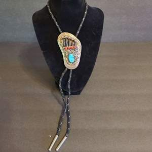 Lot # 145 Bolo Tie W/Badger Claws Sterling & Turquoise