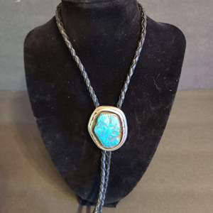 Lot # 146 Navajo Bolo Tie Sterling & Turquoise