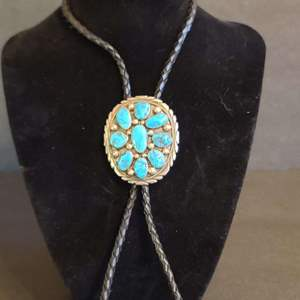 Lot # 148 Navajo Bolo Tie Sterling & Turquoise