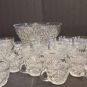 Lot # 153 Crystal Punch Bowl Set