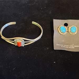 Lot # 161 Sterling & Turquoise Earrings & Bracelet