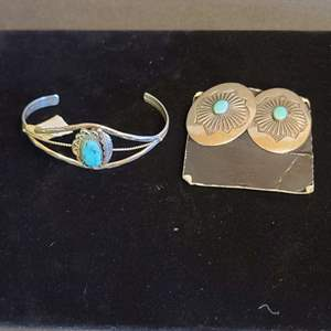 Lot # 162 Sterling & Turquoise Earrings & Bracelet