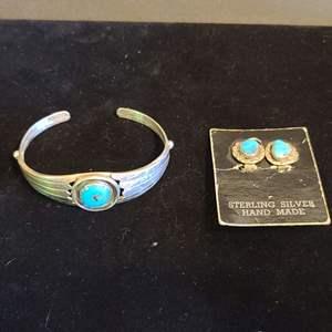 Lot # 163 Sterling & Turquoise Earrings & Bracelet