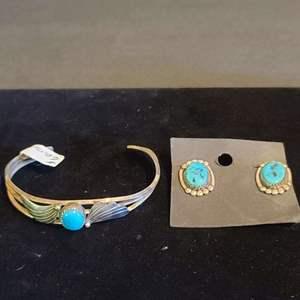 Lot # 164 Sterling & Turquoise Earrings & Bracelet