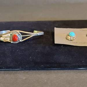Lot # 165 Sterling & Turquoise Earrings & Bracelet
