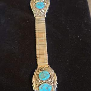 Lot # 167 Sterling & Turquoise Watch Band