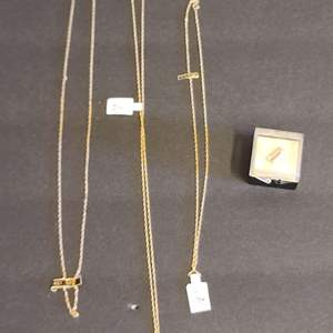 Lot # 170 14 KT Gold Chains & Tie Tack
