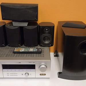 Lot # 189 Yamaha Home Theater Receiver, Speakers & Stands