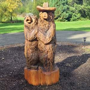 Lot # 210 Wood Bear Statue