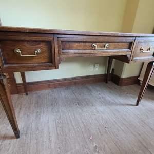 Lot # 220 Hekman Wood Desk W/ Office Chair