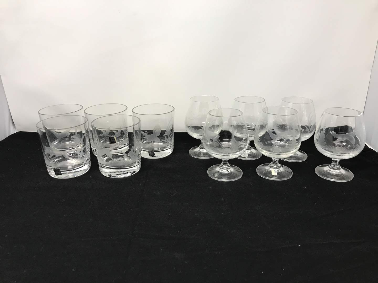 Lot # 52 - Etched Animals On Glasses (See Photos) (main image)