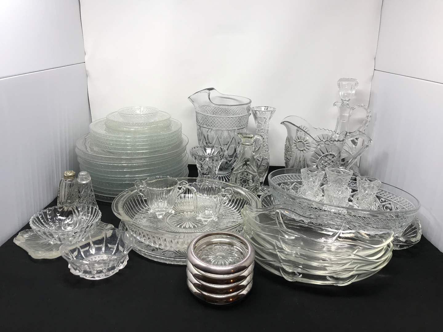 Lot # 54 - Crystal Glass Plates, Coasters, Serving Dishes & More (main image)