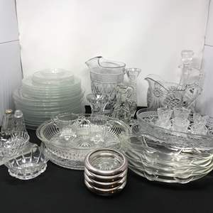 Lot # 54 - Crystal Glass Plates, Coasters, Serving Dishes & More