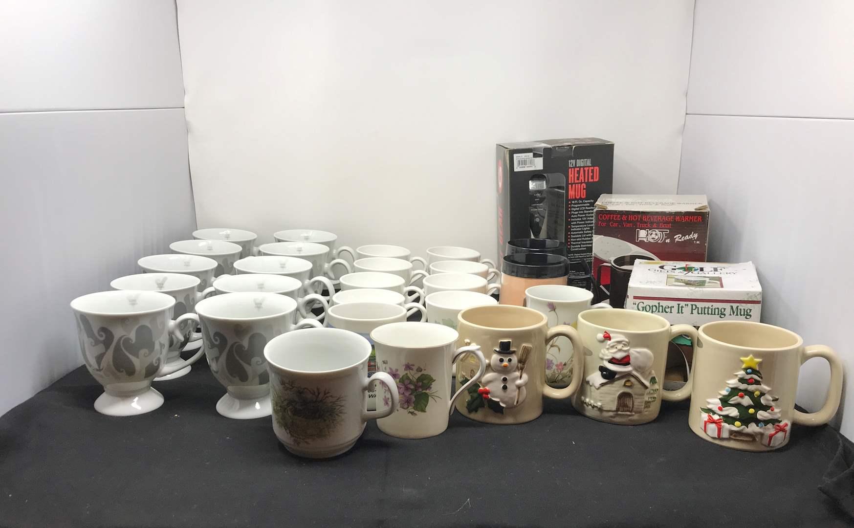 Lot # 56 - Lot Of Coffee Mugs & Mug Warmers  (main image)