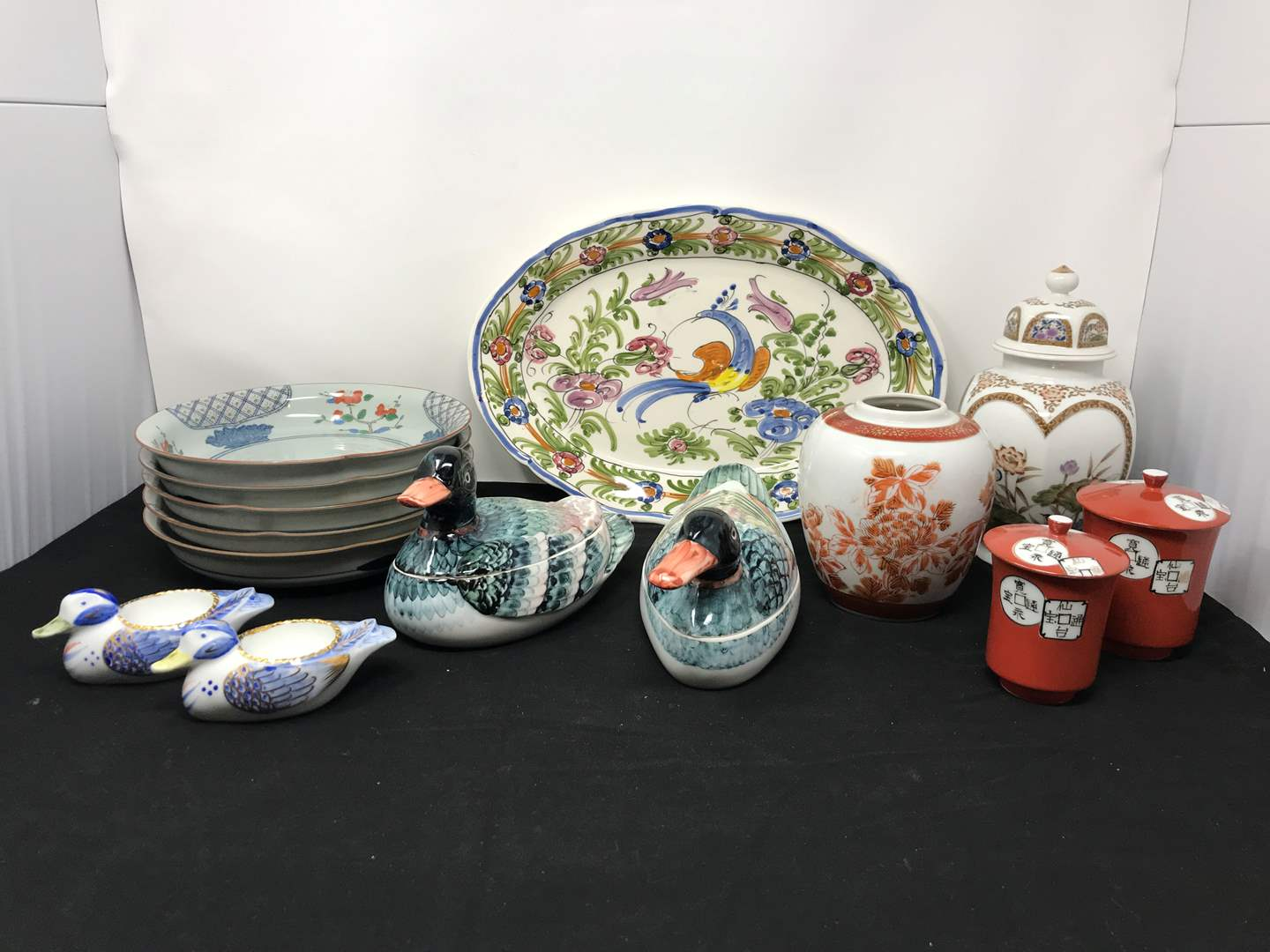 Lot # 58 - Lot Of Asian Style Bowls, Small Urn, Duck Butter Dishes & More (main image)