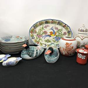 Lot # 58 - Lot Of Asian Style Bowls, Small Urn, Duck Butter Dishes & More