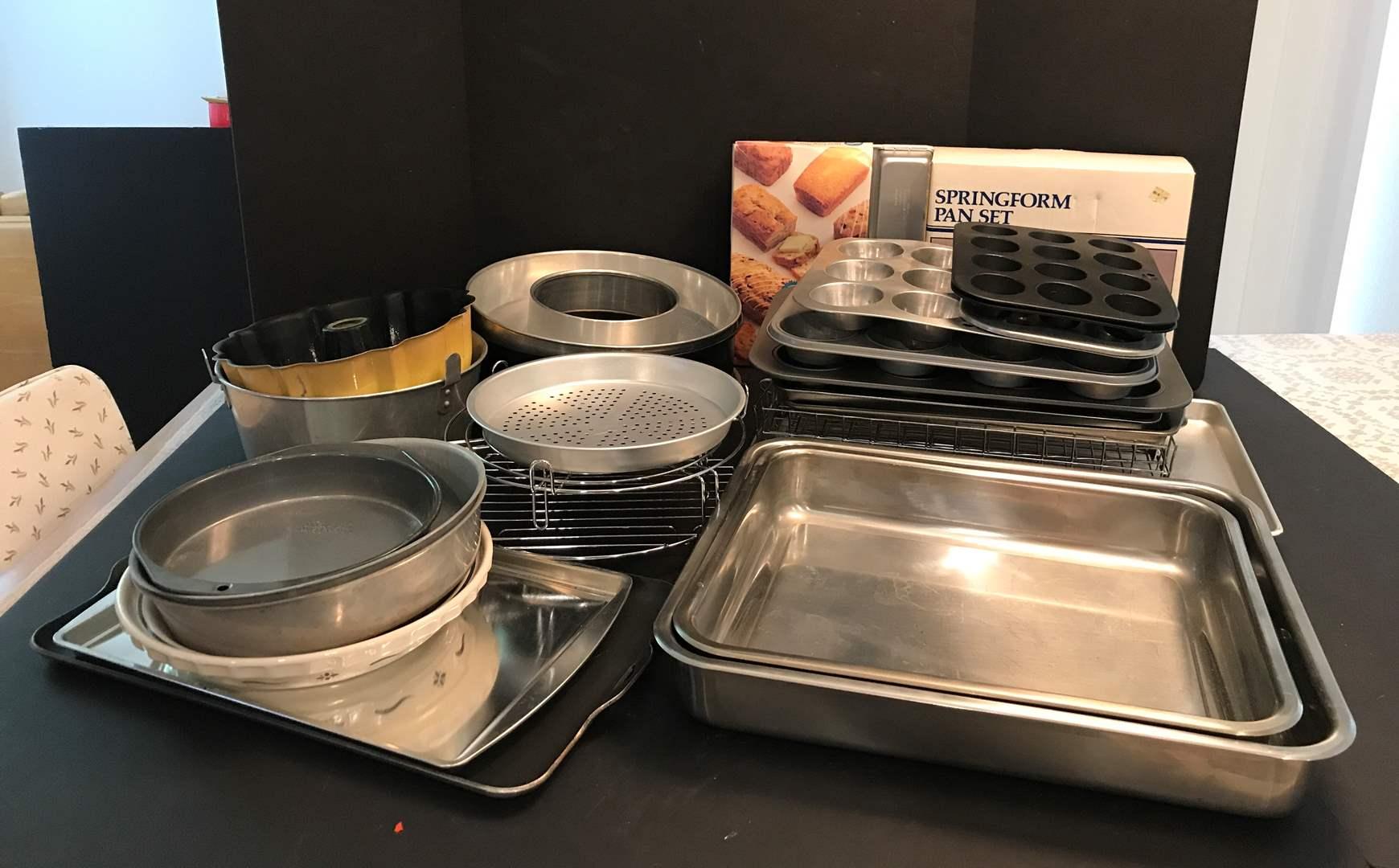 Lot # 61 - Lot Of Baking Sheets, Pans & Baking Racks (main image)