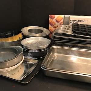Lot # 61 - Lot Of Baking Sheets, Pans & Baking Racks