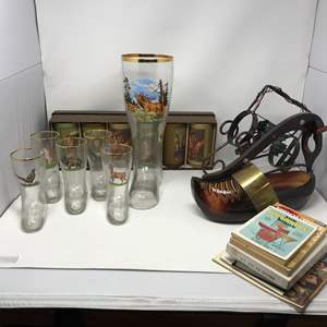 Lot # 69 - Cool Boot Steins, Wins Bottle Decor & Drink Mixing Books