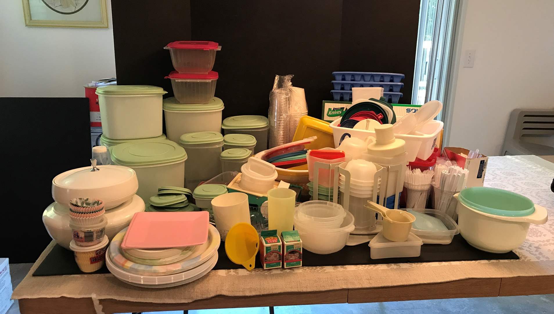 Lot # 70 - Large Lot Of Plastic Items: Spoons, Forks, Food Storage, Cups & More (main image)