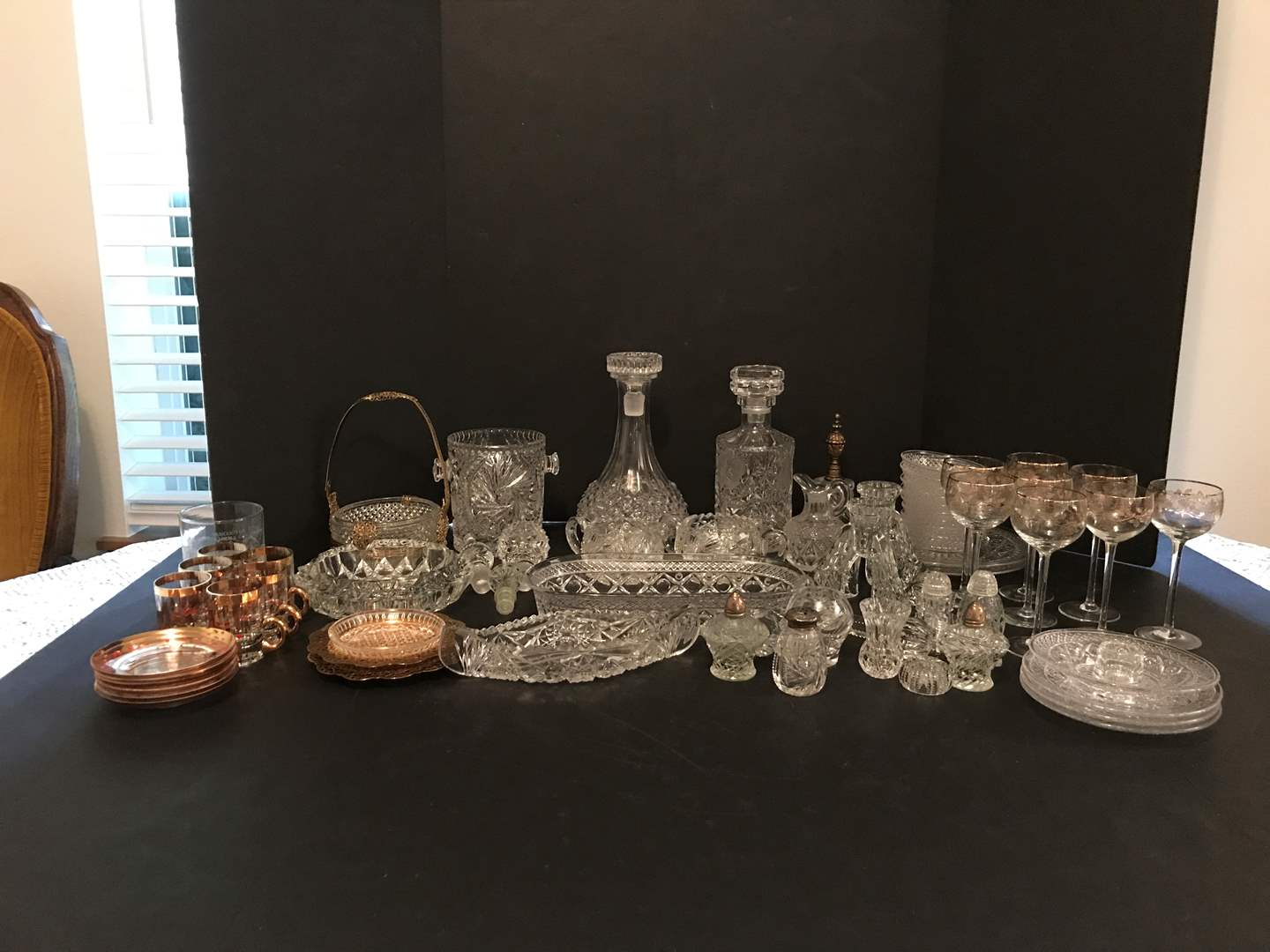 Lot # 75 - Lot Of Crystal Glass: Decanters, Stemware, Salt & Pepper Shakers, Candle Holders & More (main image)