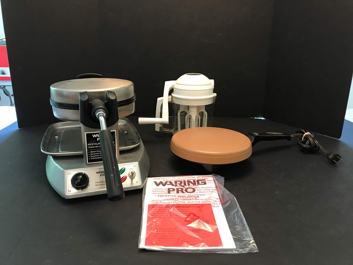 Lot # 78 - Waring Pro Belgian Waffle Maker, Oster Crepenie & Whip-O-Matic  (main image)