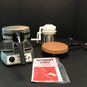 Lot # 78 - Waring Pro Belgian Waffle Maker, Oster Crepenie & Whip-O-Matic