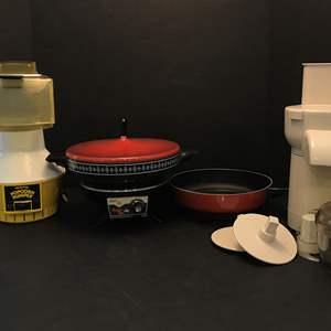 Lot # 80 - Wear Ever Popcorn Maker, Oster Super Pan, West Bend Food Processor