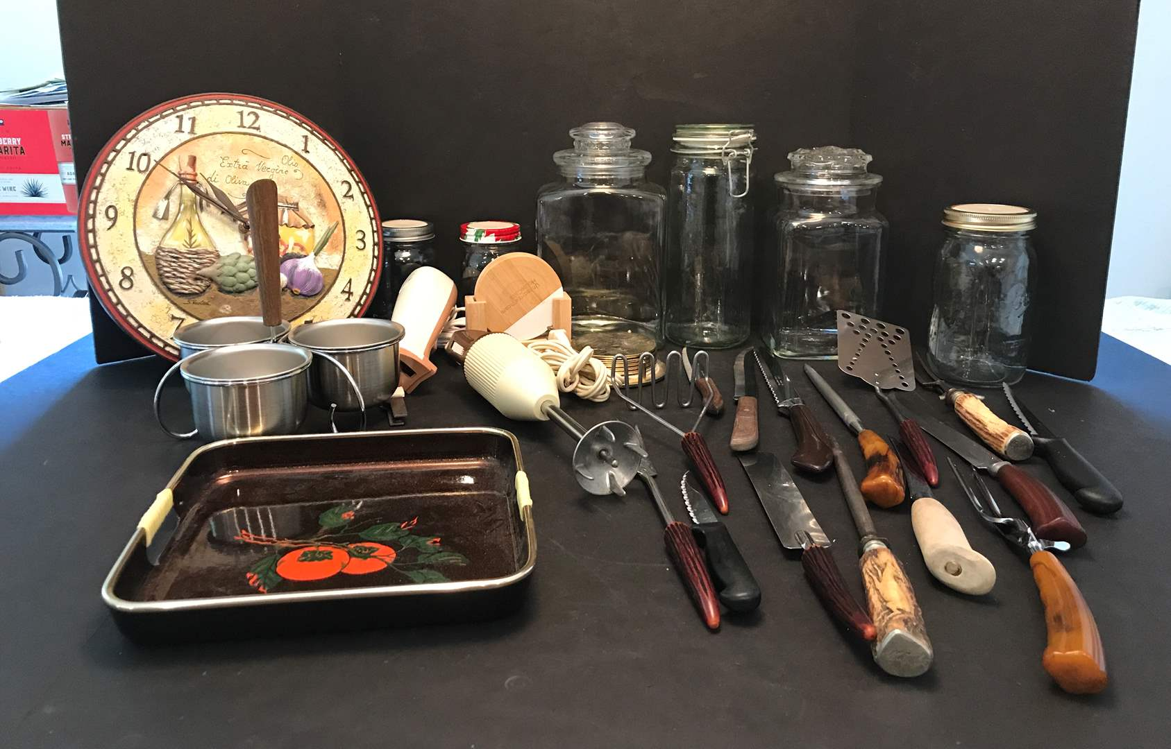 Lot # 81 - Lot Of Kitchen Items: Knifes, Canisters Clock & More (main image)