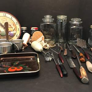 Lot # 81 - Lot Of Kitchen Items: Knifes, Canisters Clock & More