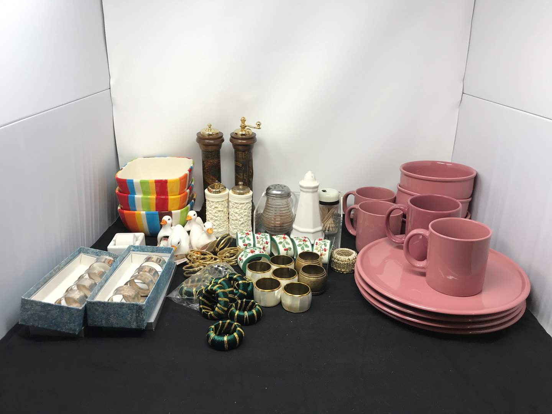 Lot # 84 - Lot Of Misc Bowls, Plates, Napkin Rings & Salt & Pepper Shakers  (main image)