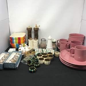 Lot # 84 - Lot Of Misc Bowls, Plates, Napkin Rings & Salt & Pepper Shakers
