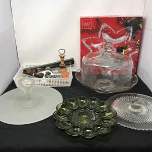 Lot # 85 - Glass Cake Stand, Egg Plate & Serving Dishes