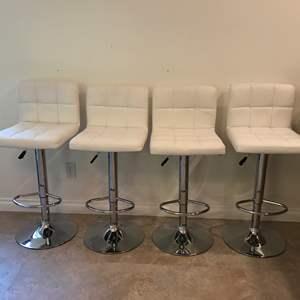 Lot # 97 - 4 Leather? Adjustable Barstools