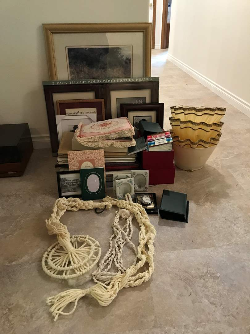 Lot # 159 - Lot Of Scrap Books, Picture Frames, Lamp Shades & More  (main image)
