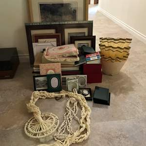Lot # 159 - Lot Of Scrap Books, Picture Frames, Lamp Shades & More