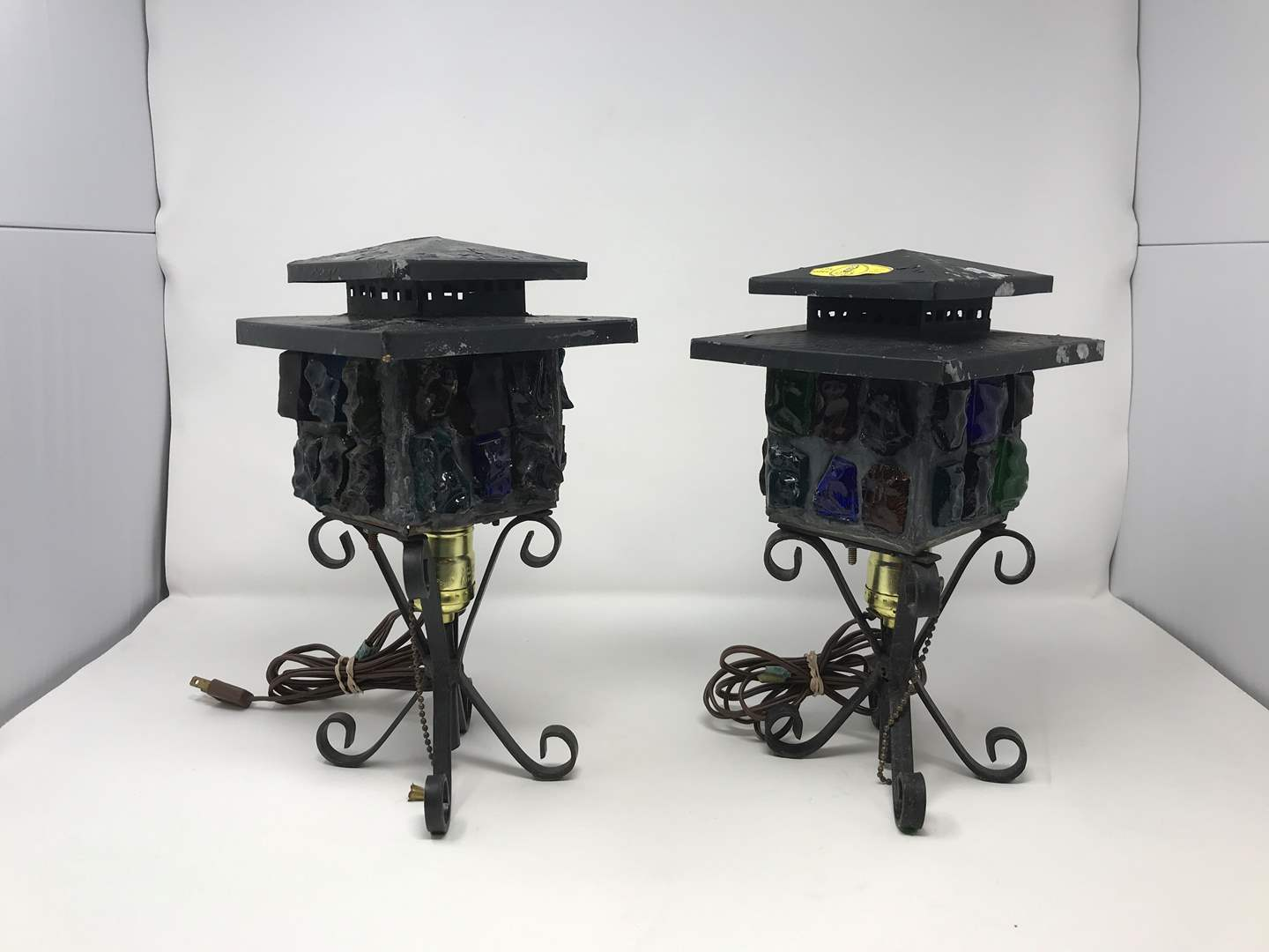 """Lot # 203 - 2 Vintage Mid-Century Brutalist Nader/Peter Marsh Chunk Glass Lamps (Roughly 11.5""""Tall) (main image)"""