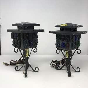 """Lot # 203 - 2 Vintage Mid-Century Brutalist Nader/Peter Marsh Chunk Glass Lamps (Roughly 11.5""""Tall)"""