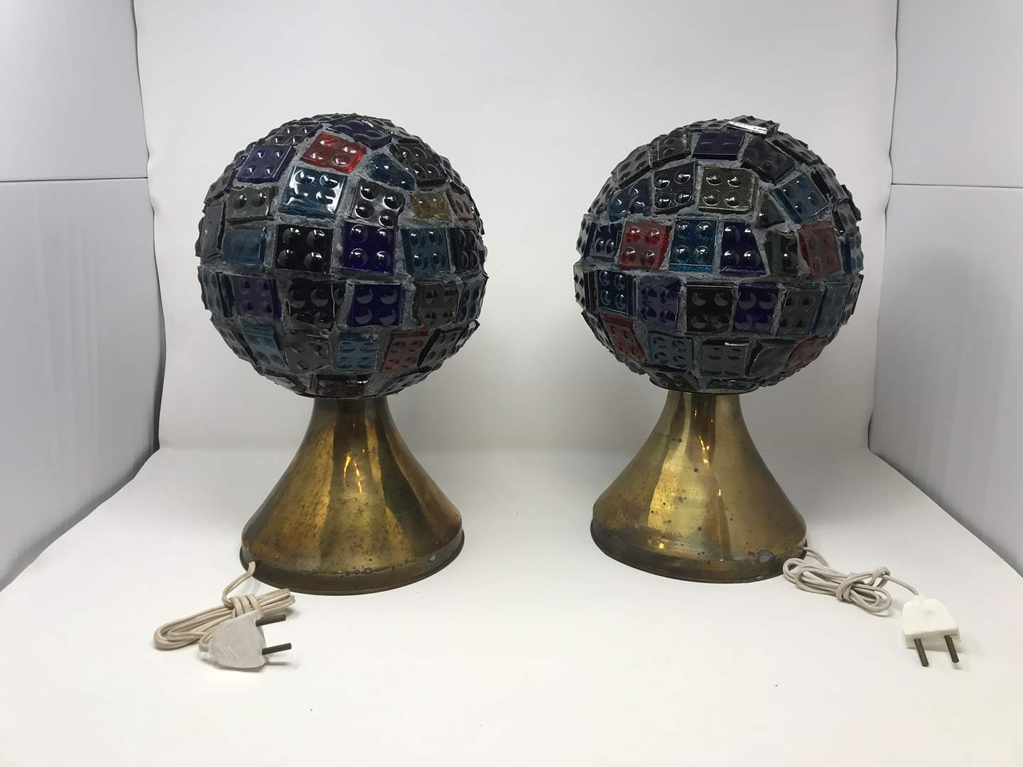 """Lot # 204 - 2 Vintage Mid-Century Brutalist Nader/Peter Marsh Chunk Glass Lamps (Roughly 13.5""""Tall) (main image)"""