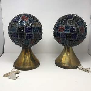 """Lot # 204 - 2 Vintage Mid-Century Brutalist Nader/Peter Marsh Chunk Glass Lamps (Roughly 13.5""""Tall)"""