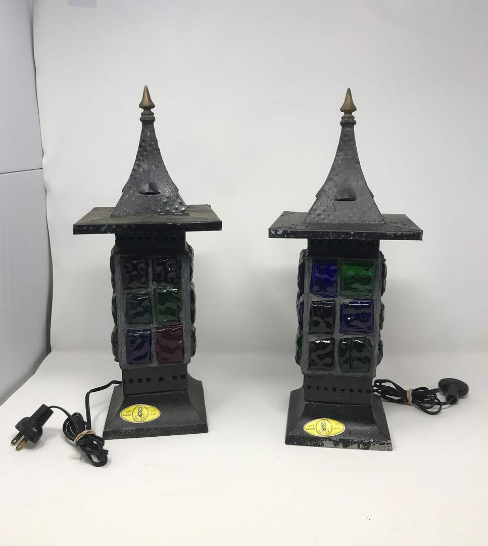 """Lot # 205 - 2 Vintage Mid-Century Brutalist Nader/Peter Marsh Chunk Glass Lamps (Roughly 15""""Tall) (main image)"""