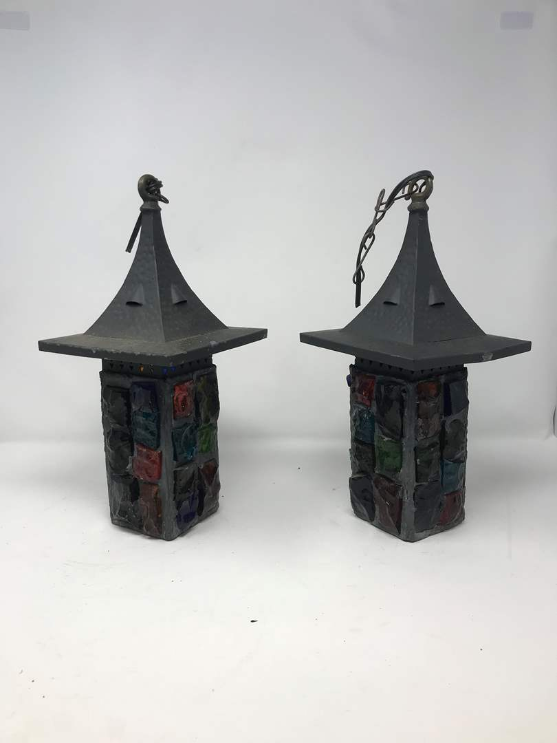 """Lot # 207 - 2 Vintage Mid-Century Brutalist Nader/Peter Marsh Chunk Glass Swag Lamps (13""""Tall) (main image)"""