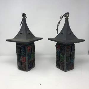 """Lot # 207 - 2 Vintage Mid-Century Brutalist Nader/Peter Marsh Chunk Glass Swag Lamps (13""""Tall)"""