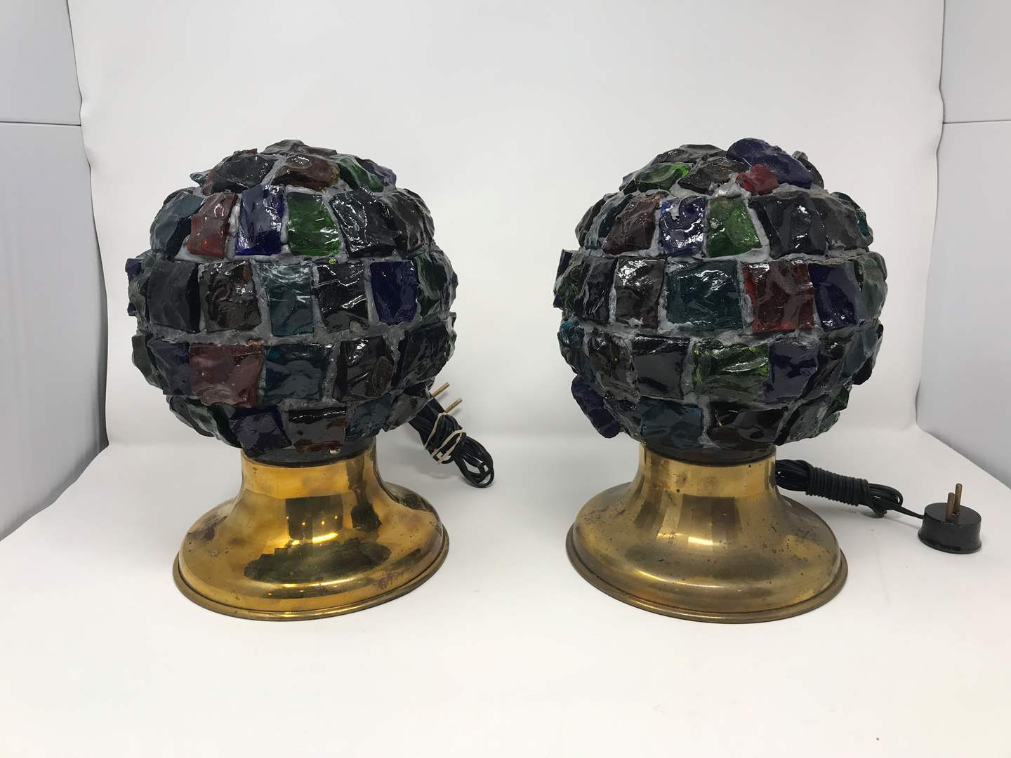 """Lot # 209 - 2 Vintage Mid-Century Brutalist Nader/Peter Marsh Chunk Glass Lamps (11""""Tall) (main image)"""