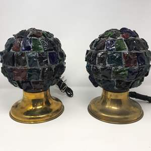 """Lot # 209 - 2 Vintage Mid-Century Brutalist Nader/Peter Marsh Chunk Glass Lamps (11""""Tall)"""