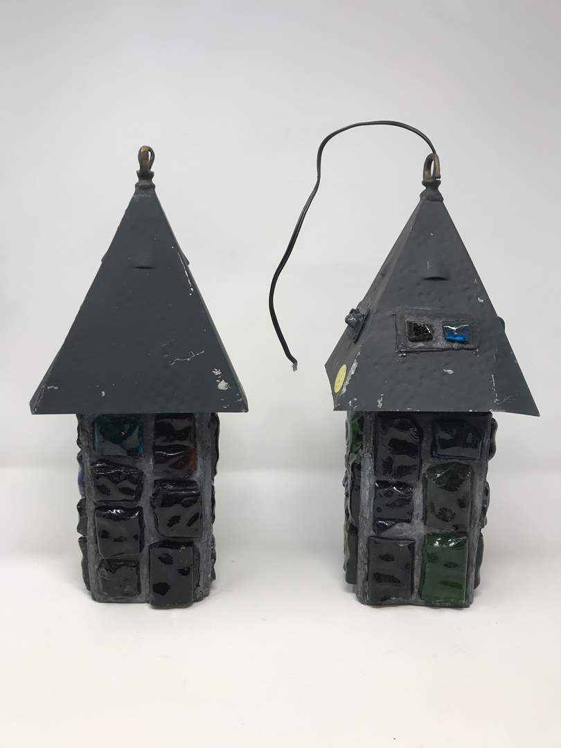 """Lot # 210 - 2 Vintage Mid-Century Brutalist Nader/Peter Marsh Chunk Glass Swag Lamps (13.5""""Tall) (main image)"""