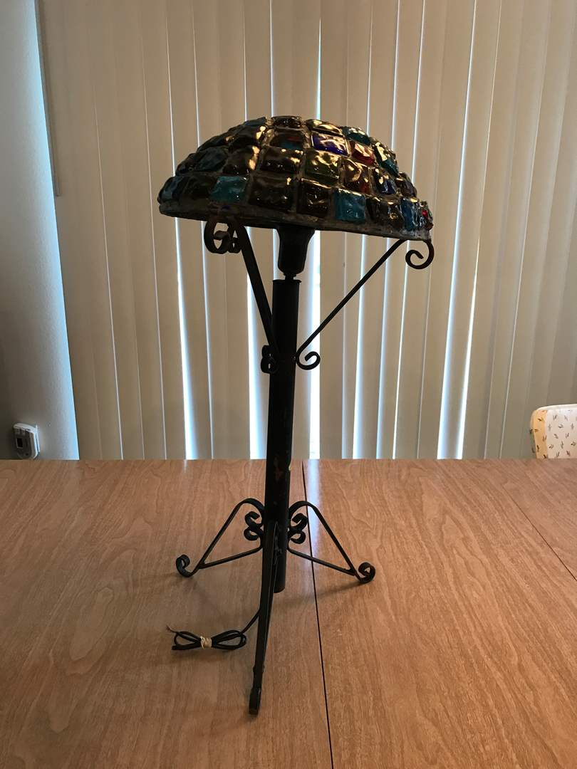 """Lot # 211 - Vintage Mid-Century Brutalist Nader/Peter Marsh Chunk Glass Table Lamp (Roughly 24.25""""Tall) (main image)"""